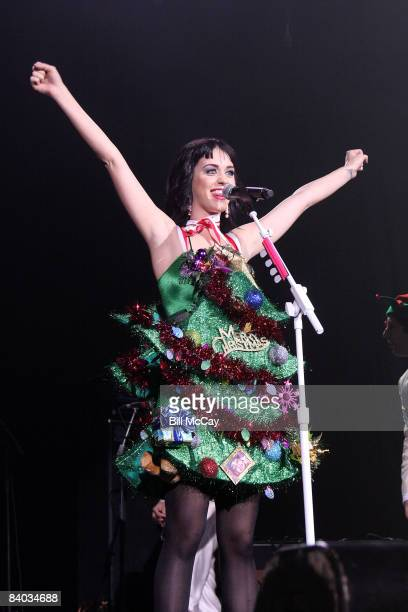 Singer Katy Perry performs live at the Q102 Jingle Ball December 14, 2008 at the Susquehanna Bank Center in Camden, New Jersey.