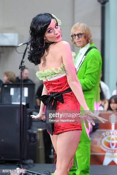 "Singer Katy Perry performs on NBC's ""Today"" at the Rockefeller Center plaza on August 29, 2008 in New York City."