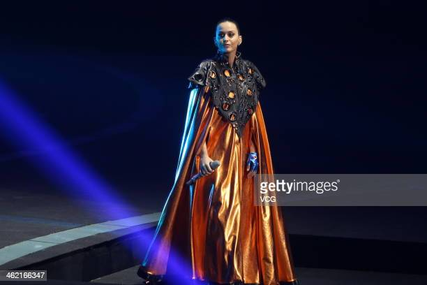 Singer Katy Perry performs on the stage in Infiniti Concert at National Indoor Stadium on January 11 2014 in Beijing China