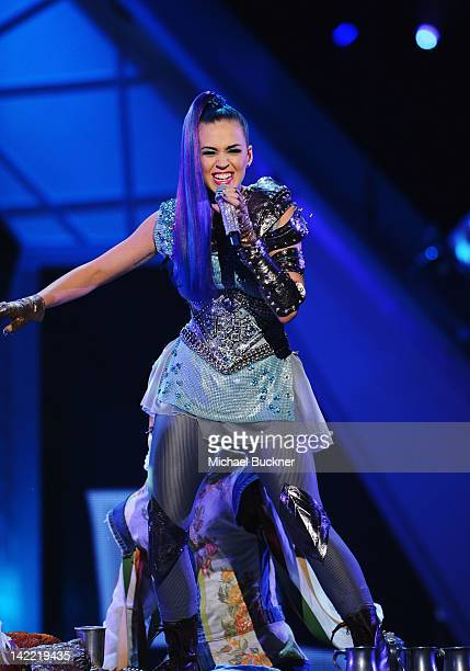 Singer Katy Perry performs onstage at Nickelodeon's 25th Annual Kids' Choice Awards held at Galen Center on March 31 2012 in Los Angeles California
