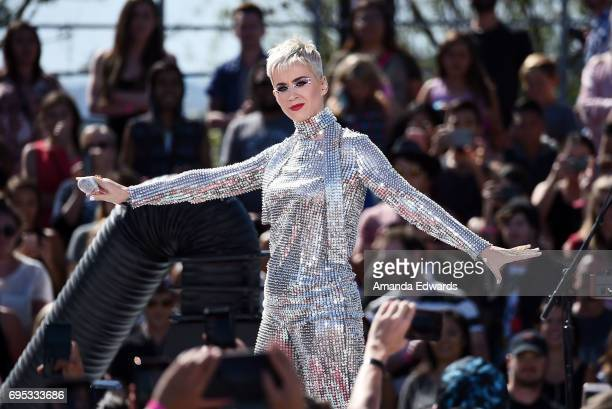 Singer Katy Perry performs onstage at the Katy Perry Witness World Wide Exclusive YouTube Livestream Concert on June 12 2017 in Los Angeles California