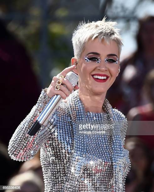 Singer Katy Perry performs onstage at the 'Katy Perry Witness World Wide' Exclusive YouTube Livestream Concert on June 12 2017 in Los Angeles...