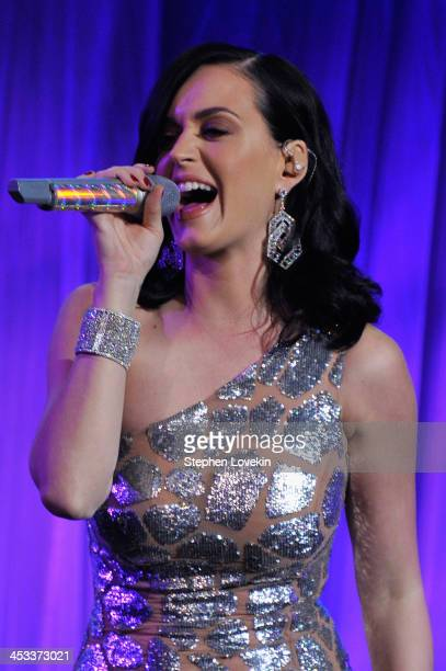 Singer Katy Perry performs onstage at The Ninth Annual UNICEF Snowflake Ball at Cipriani Wall Street on December 3 2013 in New York City