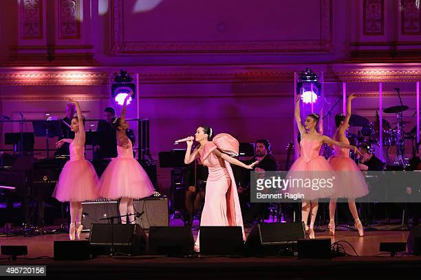 Singer Katy Perry performs onstage during Change Begins Within A David Lynch Foundation Benefit Concert at Carnegie Hall on November 4 2015 in New...