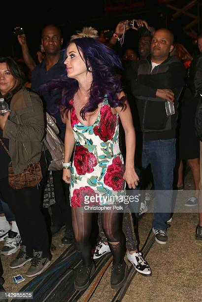 Singer Katy Perry performs onstage during day 3 of the 2012 Coachella Valley Music Arts Festival at the Empire Polo Field on April 15 2012 in Indio...