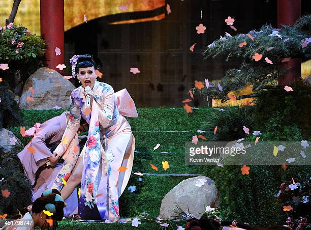 Singer Katy Perry performs onstage during the 2013 American Music Awards at Nokia Theatre LA Live on November 24 2013 in Los Angeles California