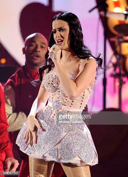 Singer Katy Perry performs onstage during The 53rd Annual GRAMMY Awards held at Staples Center on February 13 2011 in Los Angeles California