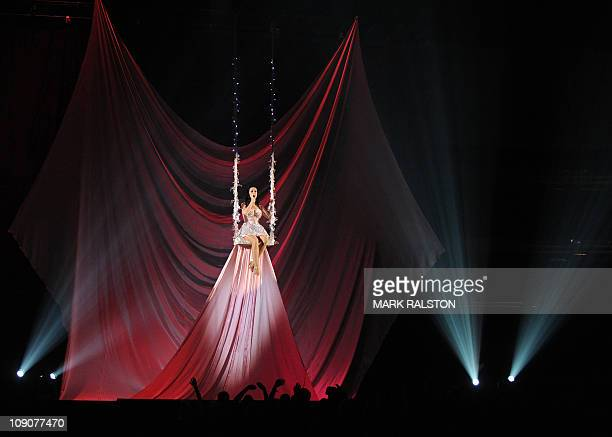 Singer Katy Perry performs onstage during the GRAMMY Awards Show at the Staples Center in Los Angeles on February 13 2011 Mick Jagger Bob Dylan and...