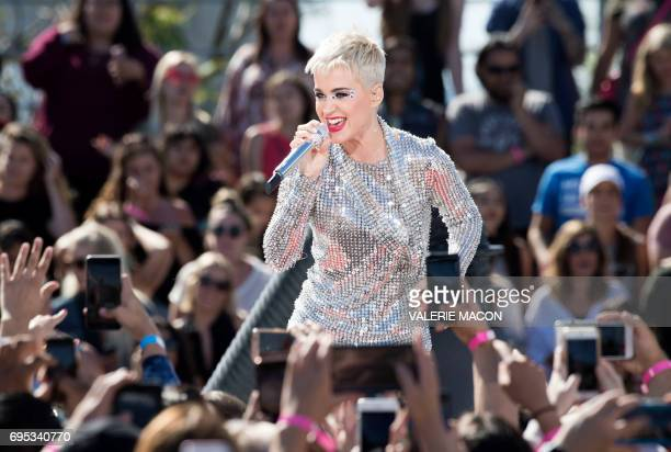Singer Katy Perry performs to conclude the Katy Perry Witness World Wide an exclusive 4day 96hour livestream in partnership with YouTube on June 12...