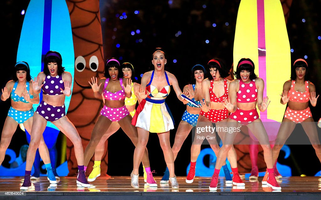 Singer Katy Perry Performs With Dancers During The Pepsi Super Bowl