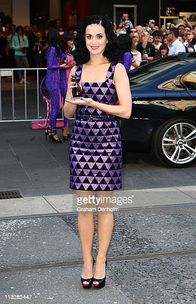 Singer Katy Perry poses at the launch of her new fragrance 'Purr' at Myer Bourke Street on April 30 2011 in Melbourne Australia