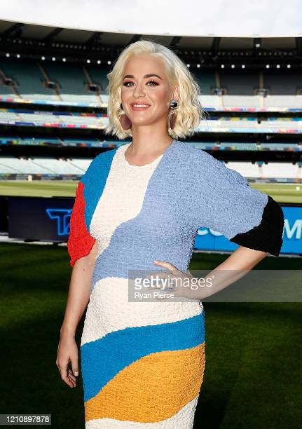 Singer Katy Perry poses during the 2020 ICC Women's T20 World Cup Media Opportunity at Melbourne Cricket Ground on March 07 2020 in Melbourne...