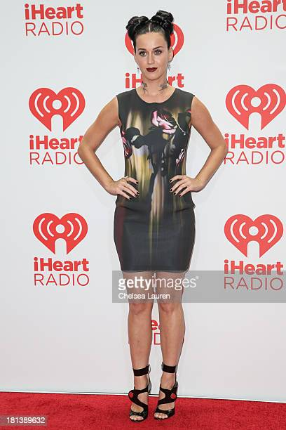 Singer Katy Perry poses in the iHeartRadio music festival photo room on September 20 2013 in Las Vegas Nevada