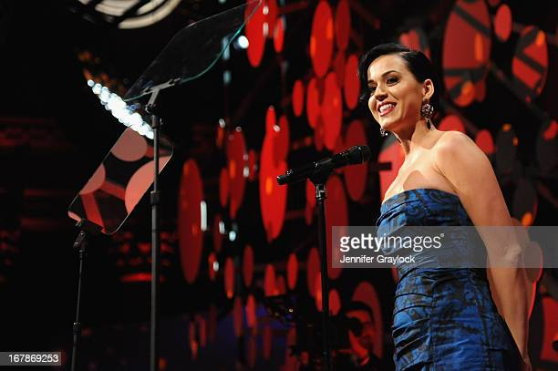 Singer Katy Perry speaks at the 2013 Delete Blood Cancer Gala honoring Vera Wang Leighton Meester and Suzi WeissFischmann on May 1 2013 in New York...