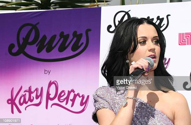 Singer Katy Perry speaks during a press conference for her new perfume Purr at Liverpool Perisur on February 5 2011 in Mexico City Mexico