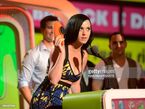 Singer Katy Perry speaks onstage during Nickelodeon's 26th Annual Kids' Choice Awards at USC Galen Center on March 23 2013 in Los Angeles California
