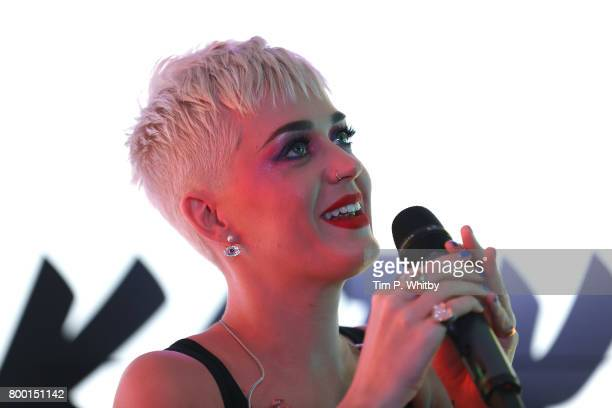 Singer Katy Perry talking during a visit to Kiss FM Studio's on June 23 2017 in London England Katy Perry performed an exclusive set of songs for a...