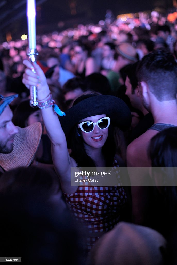 Singer Katy Perry watches Sleigh Bells during Day 1 of the Coachella Valley Music & Arts Festival 2011 held at the Empire Polo Club on April 15, 2011 in Indio, California.