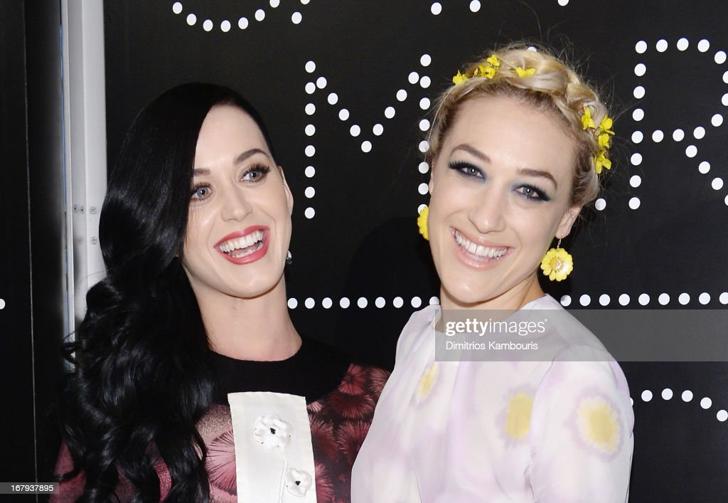 Singer Katy Perry, wearing Prada, and Mia Moretti, wearing Miu Miu, attend Catherine Martin And Miuccia Prada Dress Gatsby Opening Cocktail on April 30, 2013 in New York City.