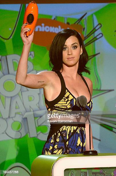 Singer Katy Perry winner of Favorite Female Singer speaks onstage during Nickelodeon's 26th Annual Kids' Choice Awards at USC Galen Center on March...