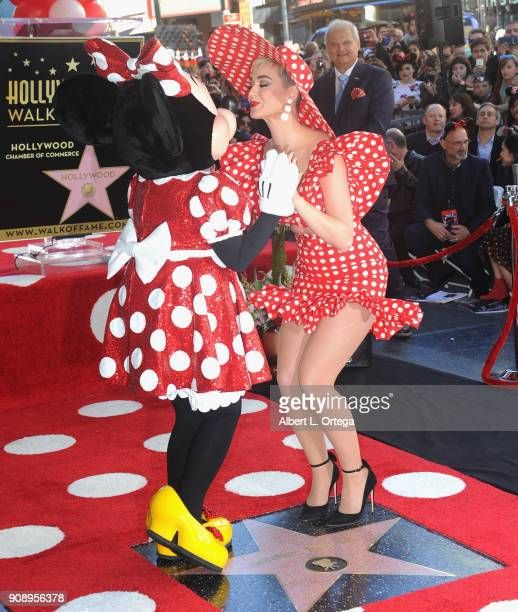 Singer Katy Perry with Minnie Mouse at Disney's Minnie Mouse 90th Anniversary Celebration Star ceremony On The Hollywood Walk Of Fame on January 22...