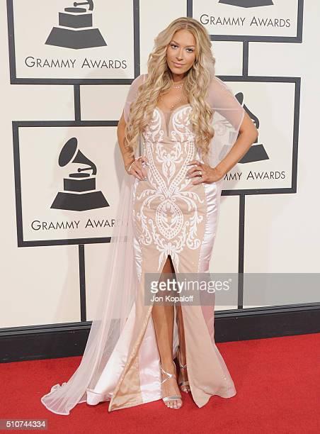 Singer Kaya Jones arrives at The 58th GRAMMY Awards at Staples Center on February 15 2016 in Los Angeles California
