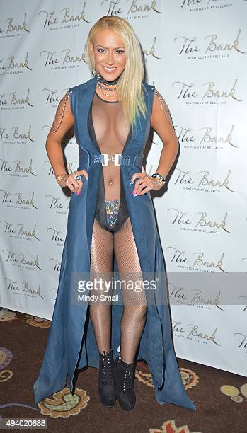 Singer Kaya Jones arrives at The Bank Nightclub at the Bellagio to celebrate the release of her album 'The Chrystal Neria' on October 24 2015 in Las...