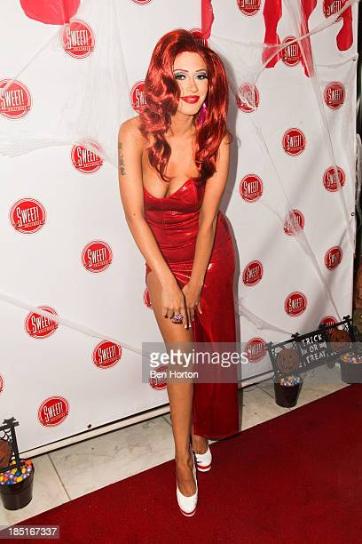 Singer Kaya Jones hosts a 'Halloween Doll' contest event at Sweet Hollywood Boutique on October 17 2013 in Hollywood California