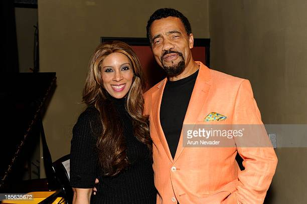 Singer Kaylene Peoples and Bobby Lyle attend the Kaylene Peoples My Man CD recording session featuring pianist Bobby Lyle on October 22 2013 at the...