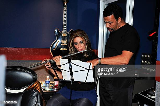 Singer Kaylene Peoples and pianist Bobby Lyle work on a flute part for the Kaylene Peoples My Man CD recording session featuring Bobby Lyle on...