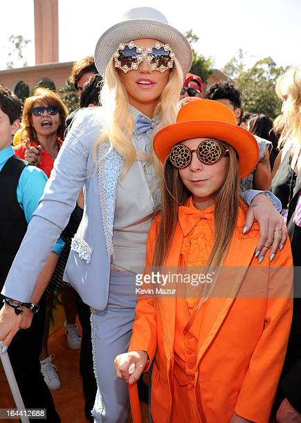 Singer Ke$ha and brother Louie Sebert arrive at Nickelodeon's 26th Annual Kids' Choice Awards at USC Galen Center on March 23 2013 in Los Angeles...