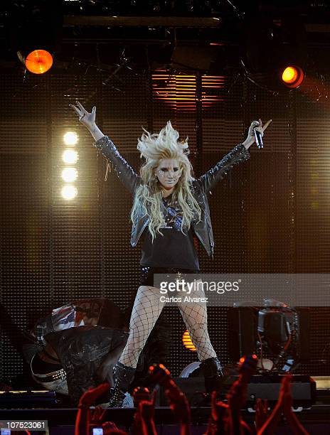 Singer Ke$ha performs on stage during 40 Principales Awards 2010 at Palacio de los Deportes on December 10 2010 in Madrid Spain
