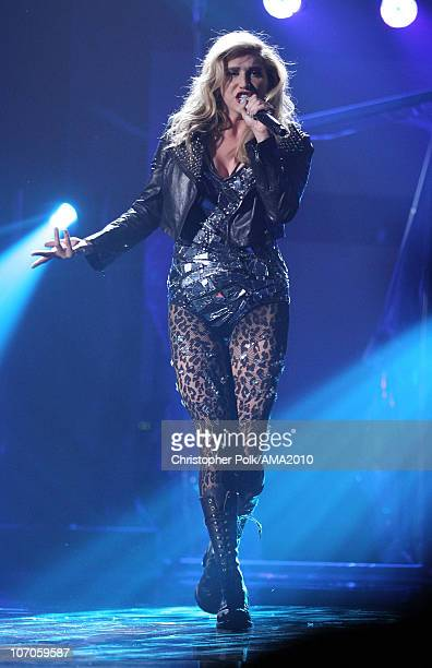 Singer Ke$ha performs onstage at the 2010 American Music Awards held at Nokia Theatre LA Live on November 21 2010 in Los Angeles California