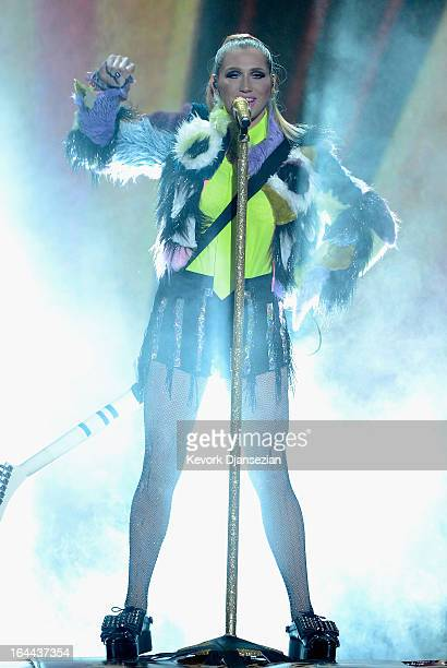 Singer Ke$ha performs onstage during Nickelodeon's 26th Annual Kids' Choice Awards at USC Galen Center on March 23 2013 in Los Angeles California