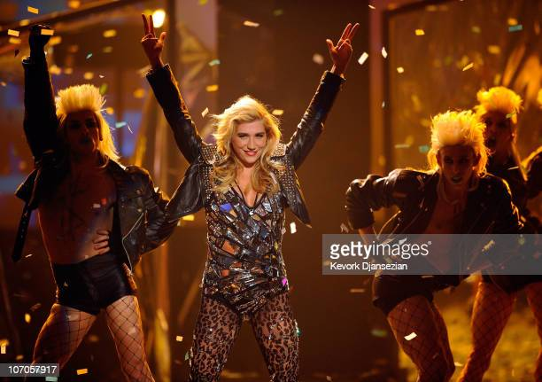 Singer Ke$ha performs onstage during the 2010 American Music Awards held at Nokia Theatre LA Live on November 21 2010 in Los Angeles California
