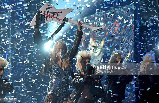 Singer Ke$ha performs onstage during the 2010 American Music Awards held at Nokia Theatre L.A. Live on November 21, 2010 in Los Angeles, California.