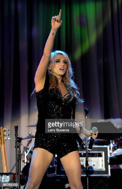 Singer Ke$ha performs onstage during the 52nd Annual GRAMMY Awards Salute To Icons Honoring Doug Morris held at The Beverly Hilton Hotel on January...