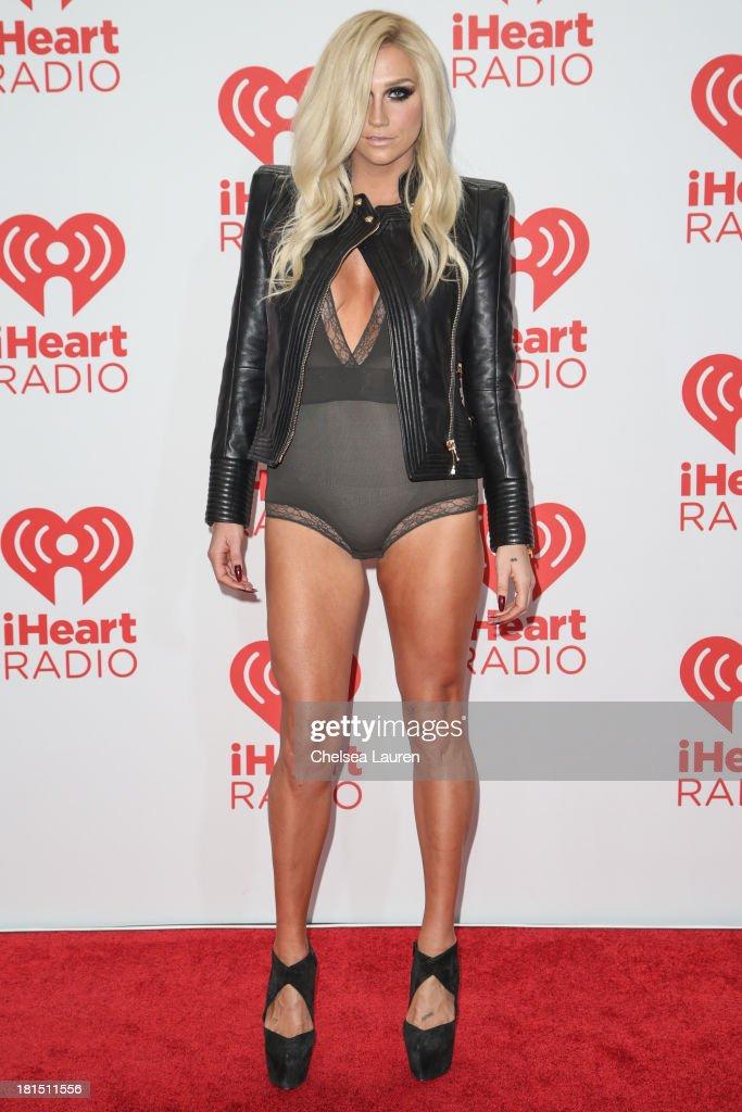 Singer Ke$ha poses in the iHeartRadio music festival photo room on September 21, 2013 in Las Vegas, Nevada.