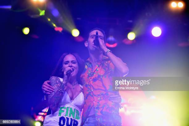 Singer Kehlani and rapper GEazy perform on the Mojave stage during day 3 of the Coachella Valley Music And Arts Festival at the Empire Polo Club on...