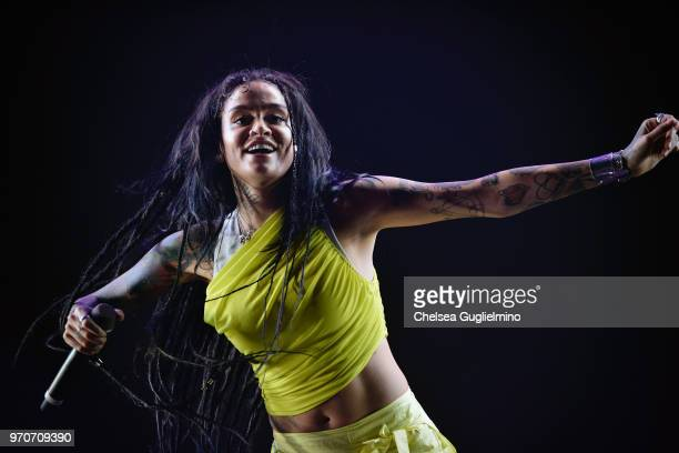Singer Kehlani performs at the LA Pride Music Festival on June 9 2018 in West Hollywood California