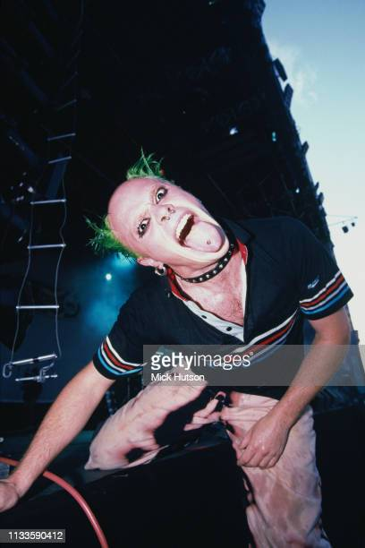 Singer Keith Flint performing with English electronic music group The Prodigy on the main stage at the Phoenix Festival Long Marston...