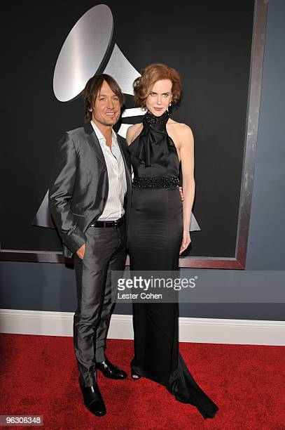 Singer Keith Urban and actress Nicole Kidman arrive at the 52nd Annual GRAMMY Awards held at Staples Center on January 31, 2010 in Los Angeles,...