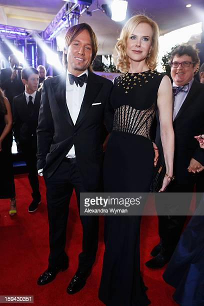Singer Keith Urban and actress Nicole Kidman arrive at the 70th Annual Golden Globe Awards held at The Beverly Hilton Hotel on January 13 2013 in...