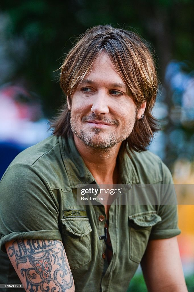 Singer Keith Urban tapes an interview at 'Good Morning America' at the ABC Times Square Studios on July 15, 2013 in New York City.