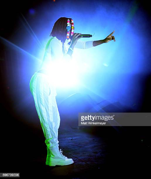 Singer Kelela performs onstage during FYF Fest 2016 at Los Angeles Sports Arena on August 27 2016 in Los Angeles California