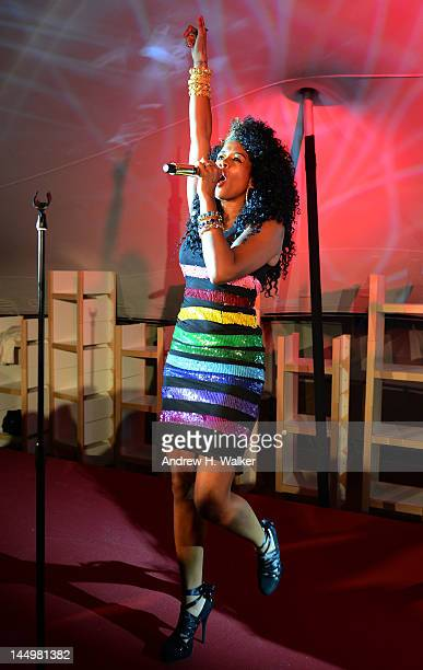 Singer Kelis performs during the Abu Dhabi Digital Domain Event at the 65th Cannes Film Festival at Plage de La Quinzaine des Realisateurs on May 21...