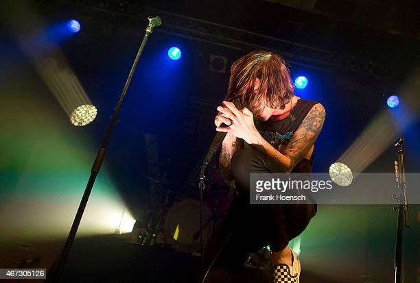 Singer Kellin Quinn of the American band Sleeping with Sirens performs live in support of Pierce the Veil during a concert at the CClub on March 22...