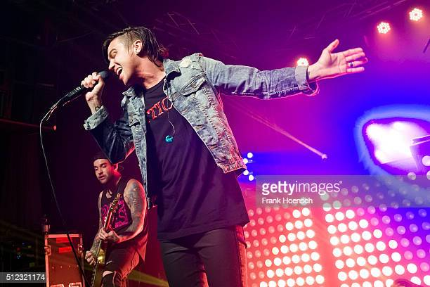 Singer Kellin Quinn of the American band Sleeping with Sirens performs live during a concert at the Postbahnhof on February 23 2016 in Berlin Germany
