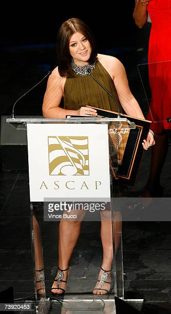 Singer Kelly Clarkson accepts an award onstage during the 24th Annual ASCAP Pop Music Awards on April 18 2007 at the Kodak Theatre in Hollywood...