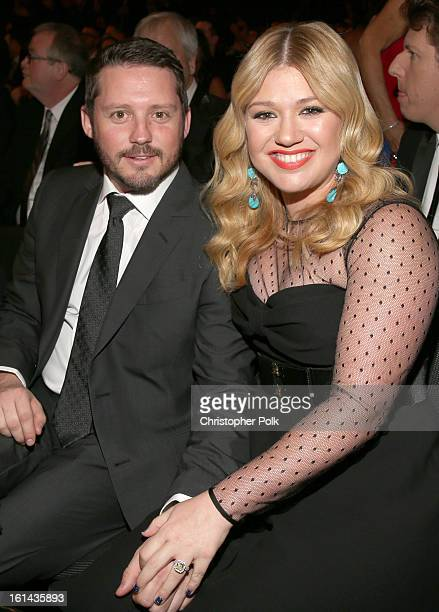Singer Kelly Clarkson and Brandon Blackstock attend the 55th Annual GRAMMY Awards at STAPLES Center on February 10 2013 in Los Angeles California